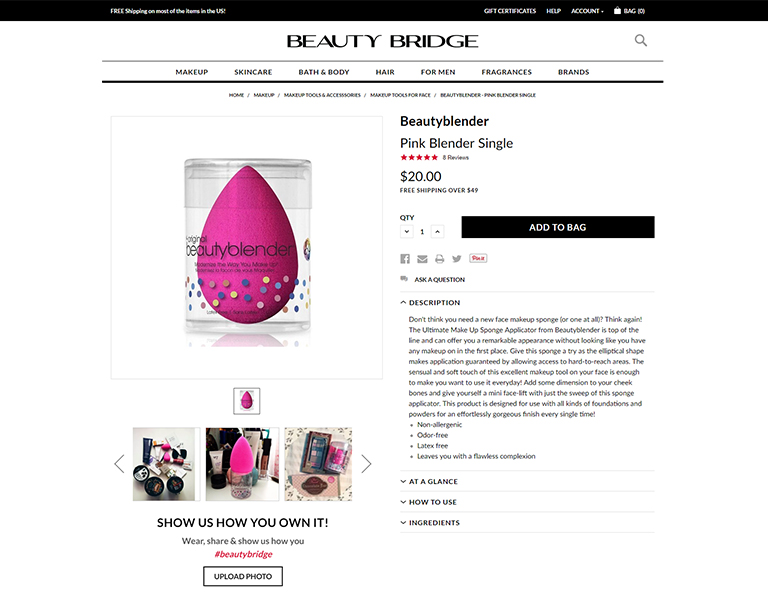 Beauty Bridge - Product Page Example