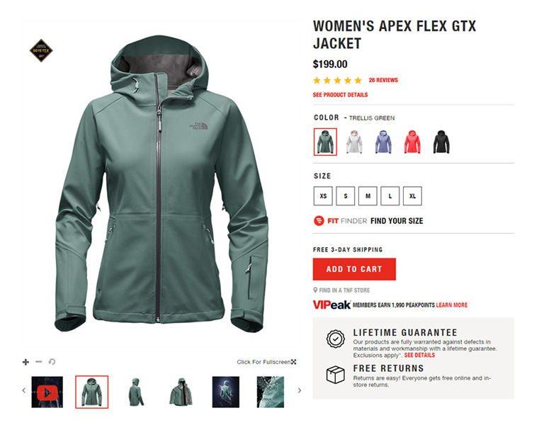 The North Face - Product Page Example