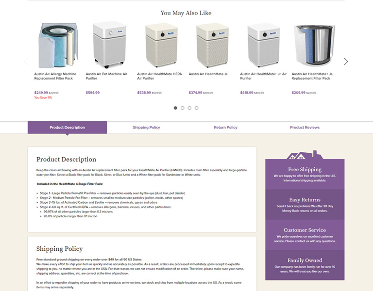 Our Pampered Home - Product Page Example