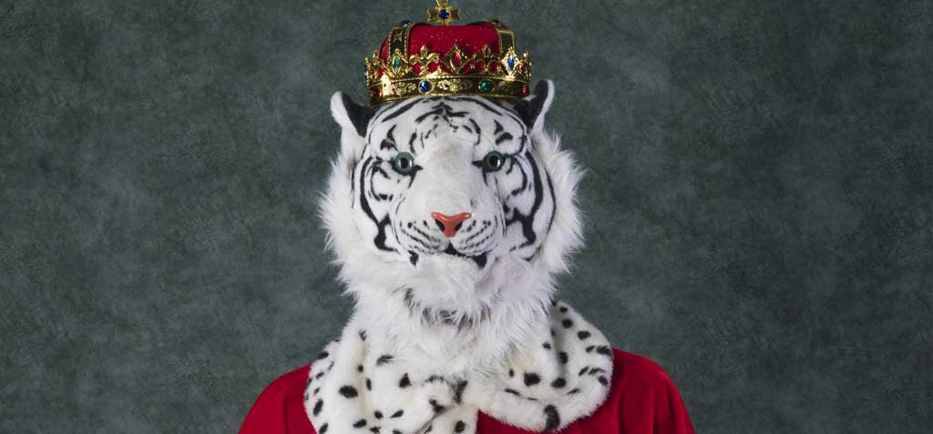 white tiger wearing king's crown and robes