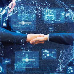 A stylized photo of a handshake, representing the sale of Feedonomics to BigCommerce.