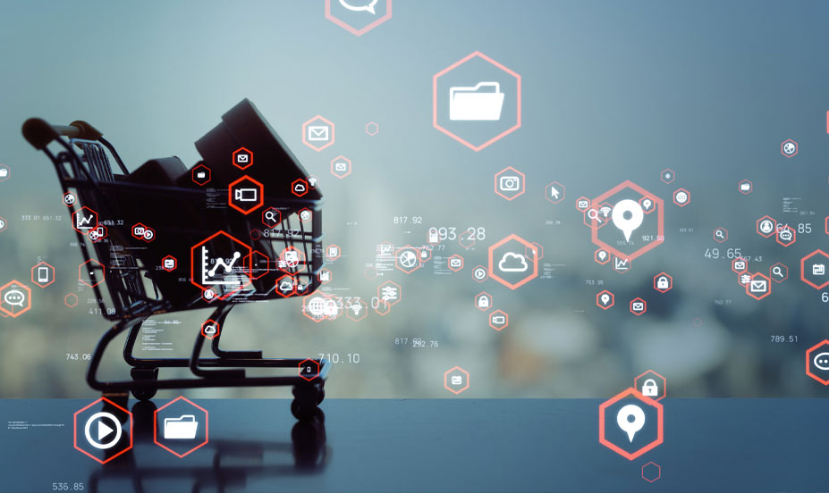 Shopping cart silhouette with overlays of eCommerce imagery and Internet user-based icons. Symbolizes the relationship between the Internet and modern retail.