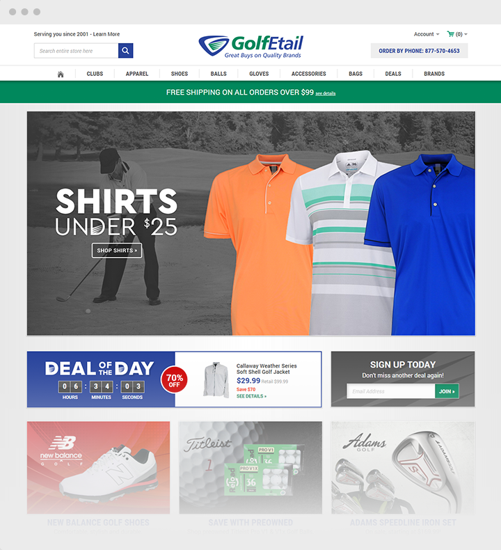 Custom Bigcommerce design on Stencil for Golfetail